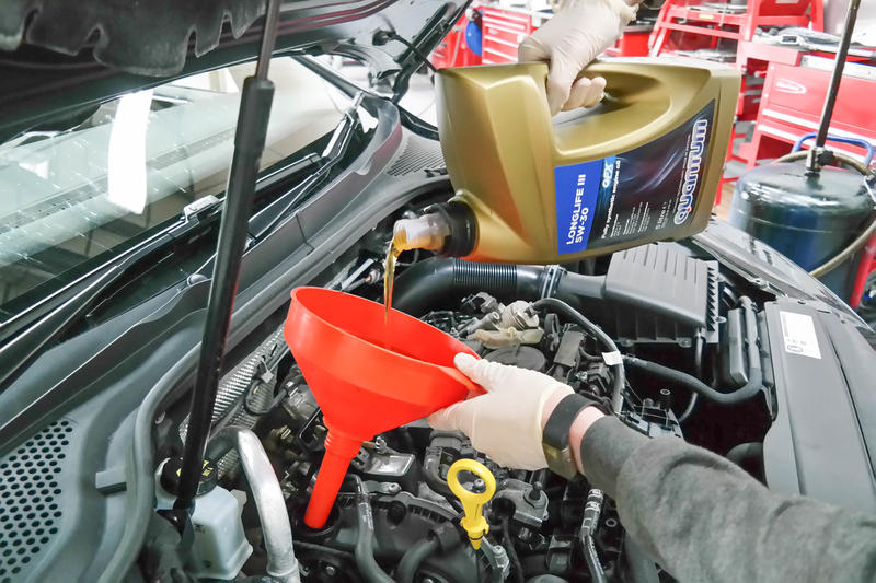 <p>Pour in about 5.7 litres of the recommended engine oil, screw the filler cap back on then briefly start the engine to circulate the oil.